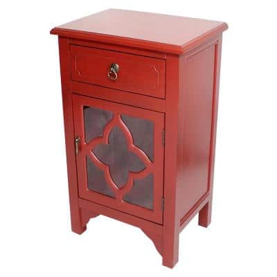 Shelly Assembled Red D Wood Clear Glass Accent Utility Cabinet with a Drawer
