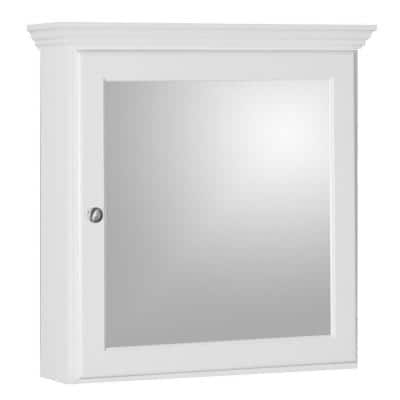 Ultraline 24 in. W x 27 in. H x 6-1/2 in. D Framed Surface-Mount Bathroom Medicine Cabinet in Satin White