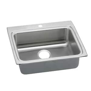 Lustertone Drop-In Stainless Steel 25 in. 1-Hole Single Bowl ADA Compliant Kitchen Sink