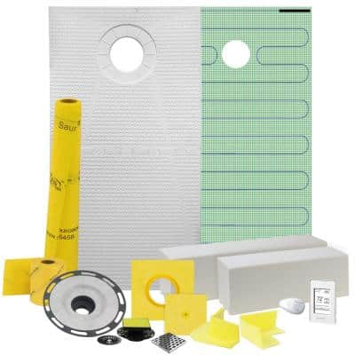 Pro GEN II 32 in. x 60 in. Floor Heating and Shower Waterproofing Kit with Offset Drain and PVC Flange