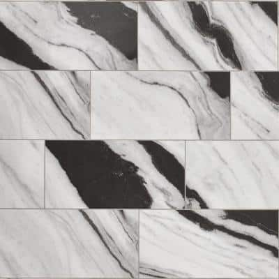 Panda Marble Polished 12 in. x 24 in. Glazed Porcelain Floor and Wall Tile (17.10 sq. ft./case)