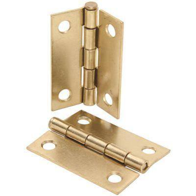 2-1/2 in. Brass Plated Square Butt Hinge (2-Pack)