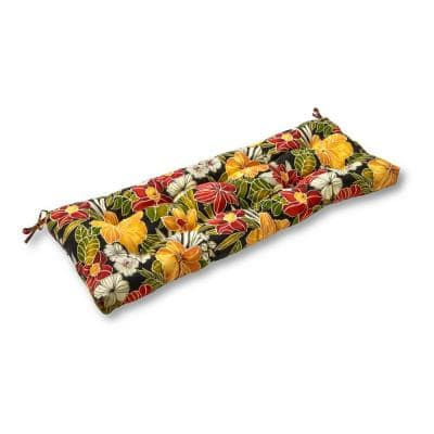 Aloha Floral Black Rectangle Outdoor Bench/Swing Cushion