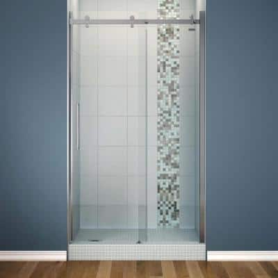 Halo 48 in. x 78-3/4 in. Semi-Framed Sliding Shower Door with Clear Glass in Chrome