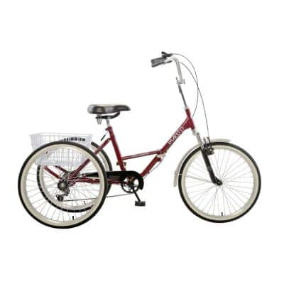 Tri-Rad 24 Burgundy Adult Folding Tricycle
