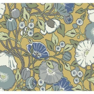 Vincent Poppies Yellow Spray and Stick Roll (Covers 60.75 sq. ft.)