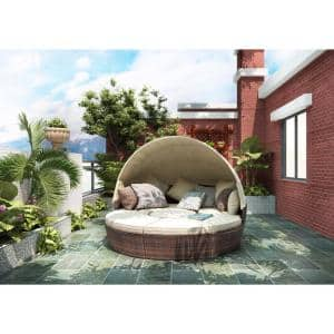 Brown Wicker Outdoor Day Bed with Beige Cushions