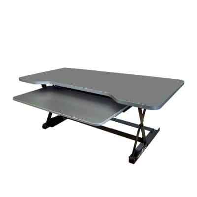 35 in. Medium, Brushed Silver Height Adjustable Standing Desk Riser with Sliding Keyboard Tray