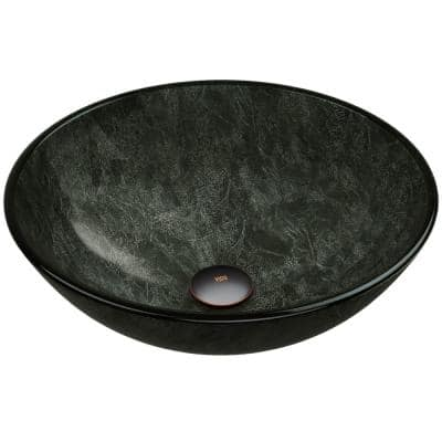 Glass Round Vessel Bathroom Sink in Onyx Gray