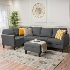 6-Piece Oxford Gray Polyester 4-Seater L-Shaped Sectional Sofa with Ottoman