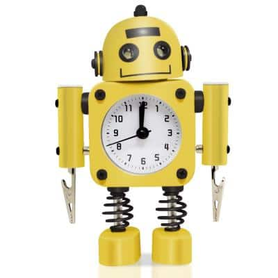 Yellow Non-Ticking Robot Alarm Clock Stainless Metal - Wake-up Clock with Flashing Eye Lights and Hand Clip