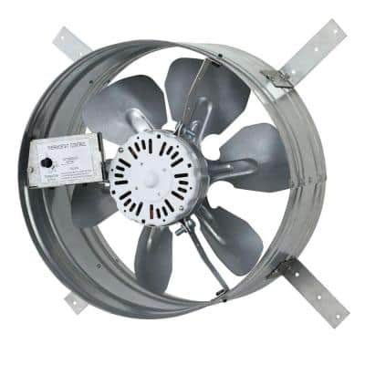 14 in. Single Speed Gable Mount Attic Ventilator Fan with Adjustable Thermostat, 3.10 Amp