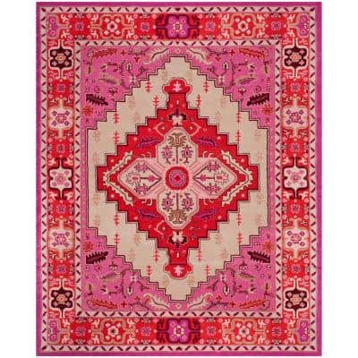 Bellagio Red Pink/Ivory 8 ft. x 10 ft. Border Area Rug