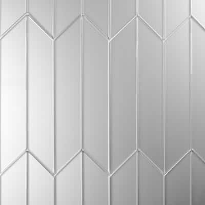 Reflections Silver Matte Straight Edge Chevron 4 in. x 12 in. Frosted Glass Mirror Wall Tile (16.2 Sq.Ft./Case)