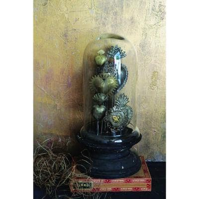 7.5 in. x 15 in. Wood Pedestal/Glass Cloche with Decorative Tin Sacred Hearts