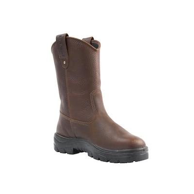 Men's Heeler Wellington Slip On 10 inch Work Boots - Steel Toe - Oak Size 14(M)