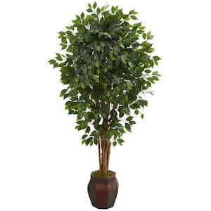 Indoor 6 ft. Ficus Artificial Tree in Decorative Planter