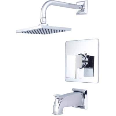 Mod 1-Handle Wall Mount Tub and Shower Faucet Trim Kit with Rain Showerhead in Polished Chrome (Valve not Included)