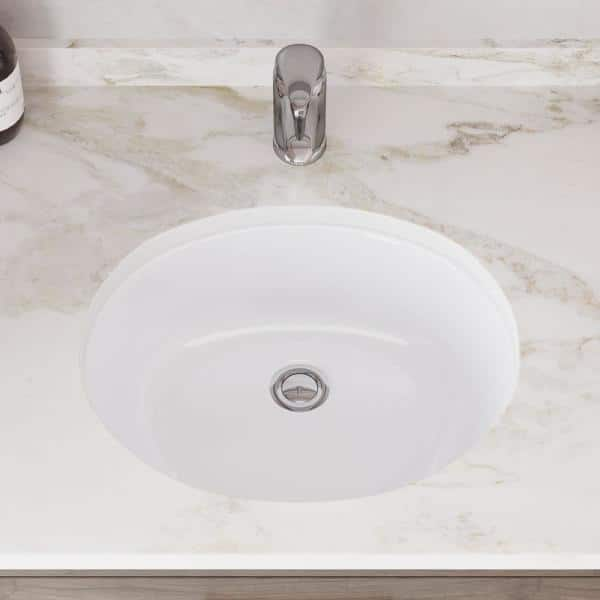 Mr Direct 19 In Undermount Bathroom Sink In White With White Sinklink And Pop Up Drain In Chrome Upmw Slw C The Home Depot