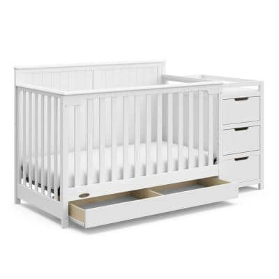 Hadley White 4-in-1 Convertible Crib and Changer with Drawer