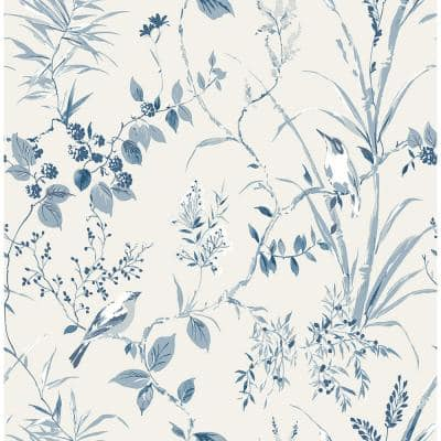 Mariko Blue Botanical Blue Wallpaper Sample
