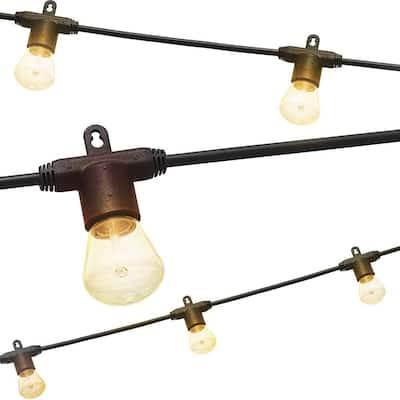 6-Bulb 12 ft. Black Bistro Integrated LED String Light