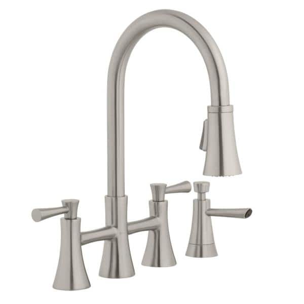Glacier Bay Selma 2 Handle Pull Down Sprayer Bridge Kitchen Faucet With Soap Dispenser In Stainless Steel Hd67065 0108d2 The Home Depot