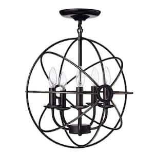 16 in. 5-Light Antique Bronze Sphere Cage Globe Semi-Flush Mount