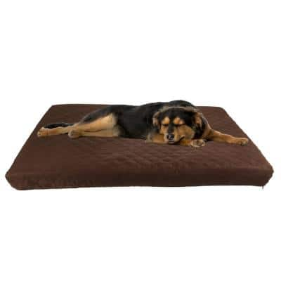 Large Brown Waterproof Memory Foam Indoor/Outdoor Pet Bed with Water Resistant Nonslip Bottom and Washable Cover