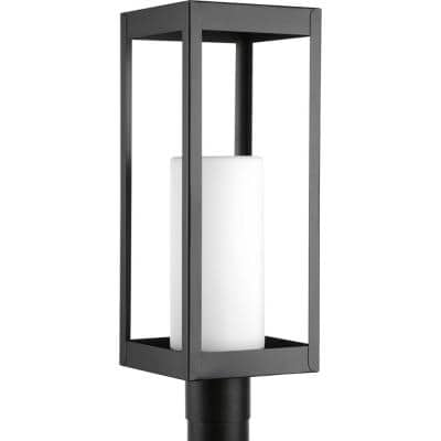Patewood Collection 1-Light Matte Black Etched Opal Glass Farmhouse Outdoor Post Lantern Light