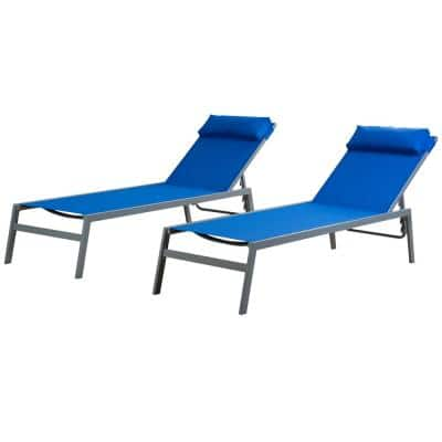 Wilson Grey EDP Coated Wrought Iron Frame Breathable Blue Textilene Seat Outdoor Chaise Lounge (2-Pack)
