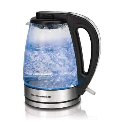 7-Cup Black Glass Kettle Electric