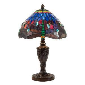 Ginevra Dragonfly 19 in. Antique Bronze Table Lamp with Hand Rolled Art Glass Shade