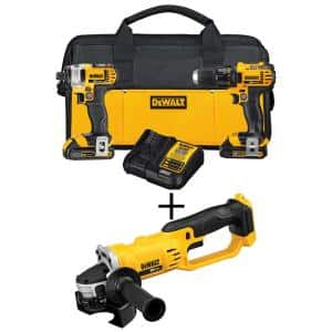 20-Volt MAX Cordless Drill/Impact Combo Kit (2-Tool) with (2) 20-Volt 1.5Ah Batteries, Charger & 4-1/2 in. Grinder