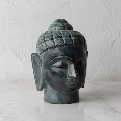 Kayal 6 in. Gray Stone Decorative Buddha Novelty Statue