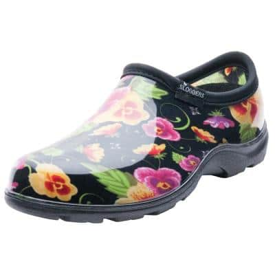 Women's Size 9 Pansy Print Rain and Garden Shoes