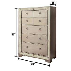 Loraine Champagne Modern Victorian Style Chest of Drawers