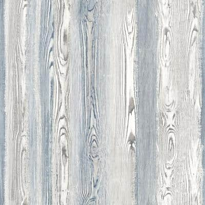 Cady Blue Wood Panel Paper Strippable Wallpaper (Covers 56.4 sq. ft.)