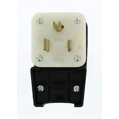50Amp 125-Volt Straight Blade Grounding Angle Plug, Black/White