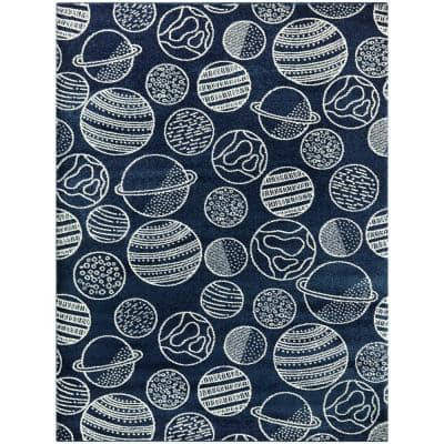 Space Planets Blue/White 5 ft. x 7 ft. Area Rug