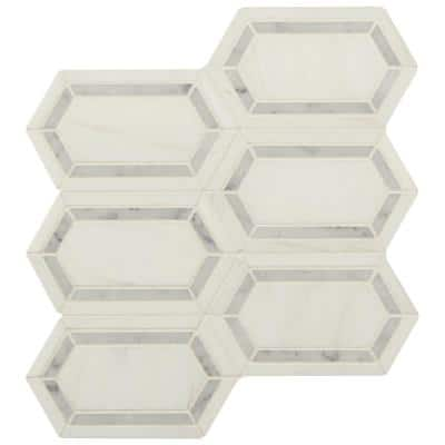 Pavilion Picket 12 in x 12 in. x 10mm Polished Marble Mesh-Mounted Mosaic Floor and Wall Tile (1 sq. ft.)