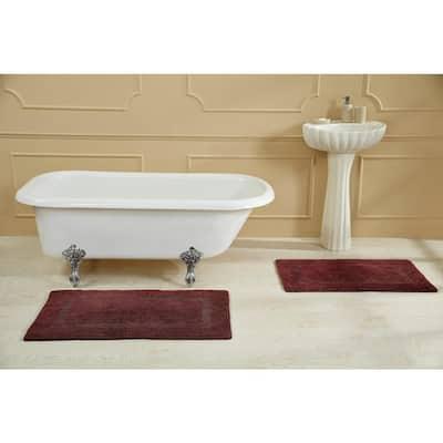 Racine Stone Wash Burgundy 24 in. x 40 in. 100% Cotton Bath Rug