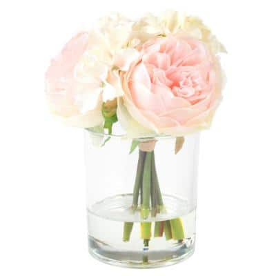 7.5 in. Hydrangea and Rose Floral Pink and Cream Arrangement