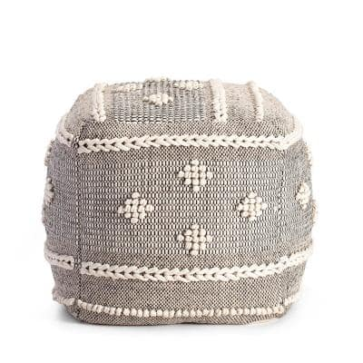 Sidney Street 20 in. x 20 in. x 20 in. Black and Ivory Pouf