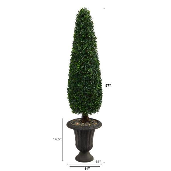 Nearly Natural 57 In Indoor Outdoor Boxwood Topiary Artificial Tree In Charcoal Urn Uv Resistant T2195 The Home Depot
