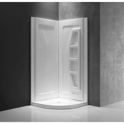 Gradient 36 in. x 36 in. x 74 in. 2-piece DIY Friendly Corner Shower Surround in White