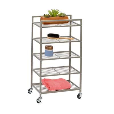 5-Tier Steel 4-Wheeled Bathroom Cart in Satin Nickel