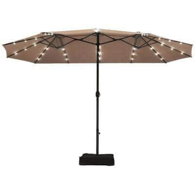 15 ft. Market Double-Sided Solar Crank 36-Lights Base LED Patio Umbrella in Tan