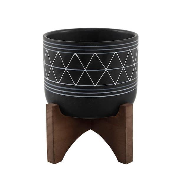 Flora Bunda Mid Century 5 In Black White Line Ceramic Geometric Pot With Wood Stand Planter Ct044e Bk Wh The Home Depot