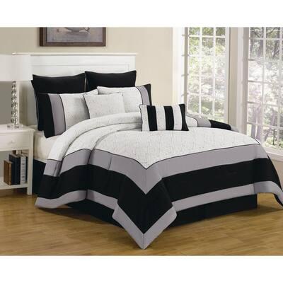 Spain Hotel Online Queen 8-Piece White-Black Oversized Quilt